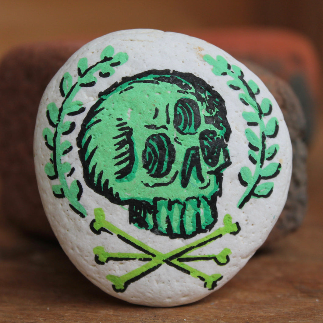 Triclops Skull hand-painted paperweight rock