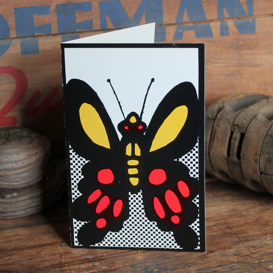 Vintage 60's Red & Yellow Butterfly note card