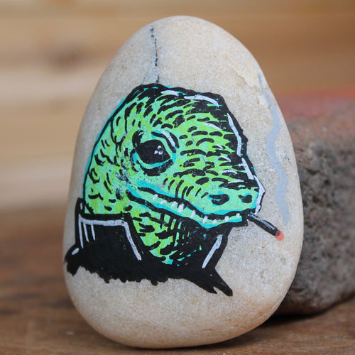 Greaser Lizard hand-painted paperweight rock