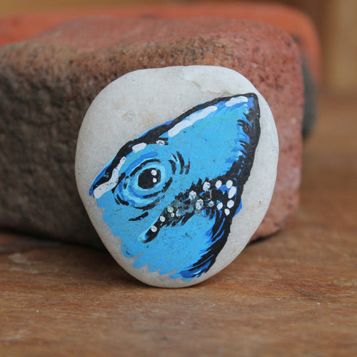 Man Eating Shark hand-painted paperweight rock