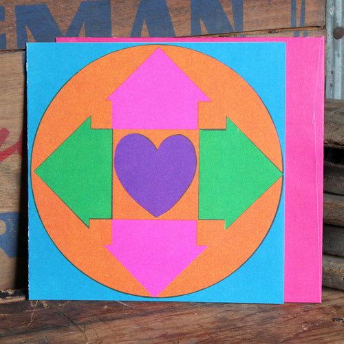 1960's Heart screen print note card with envelope