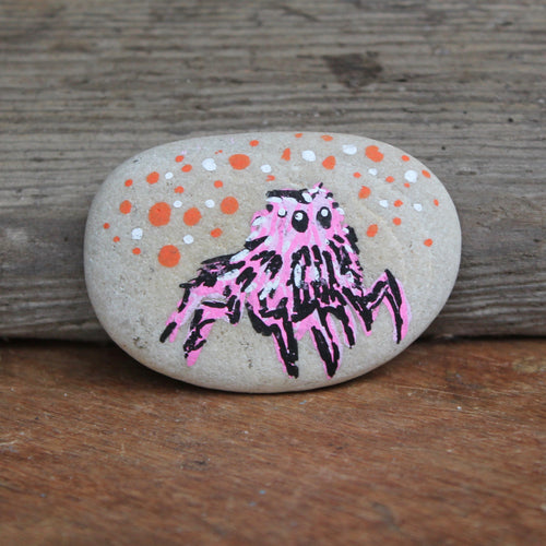 Jumping Spider hand-painted paperweight rock