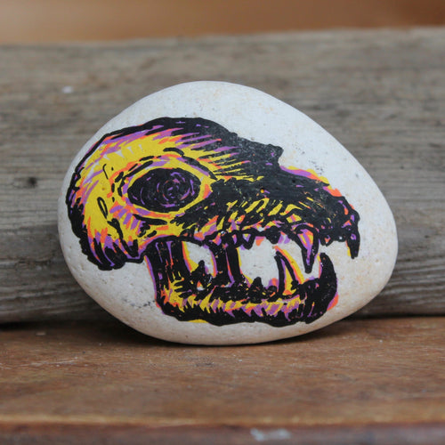 Carnivore Skull hand-painted paperweight rock