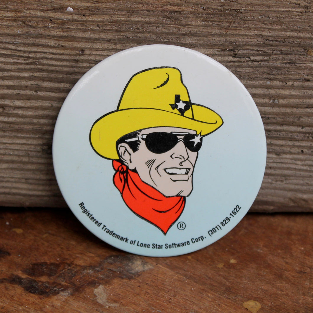 Large Lone Star Cowboy pinback button