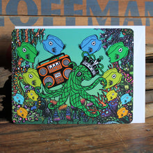 Cool octopus notecard with boombox and trumpet fish Art by RadCakes postcards