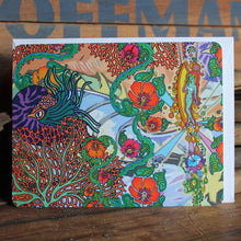 Hibiscus and Surf themed notecards with trippy art by RadCakes postcard