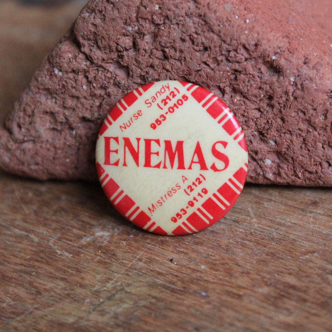 Enemas pinback button