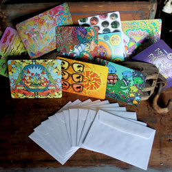 RadCakes notecard set colorful trippy artwork with underwater themes and retro designs postcards