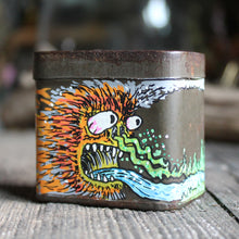 "Original artwork on an antique tin: ""The Industrial Monster"" - RadCakes Shirt Printing"