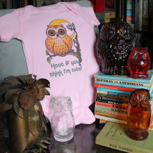 Glass owls and Golden Book collection with cute baby onesie by RadCakes custom printing