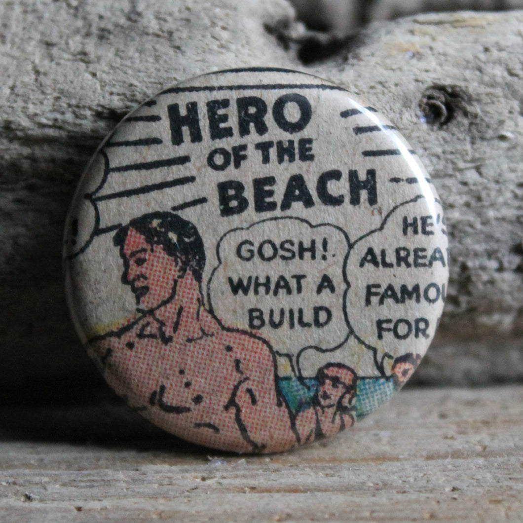 funny beach pin button from a vintage comic book advertisement by RadCakes