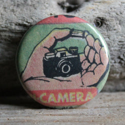 Miniature camera comic book advertisement by RadCakes button printing