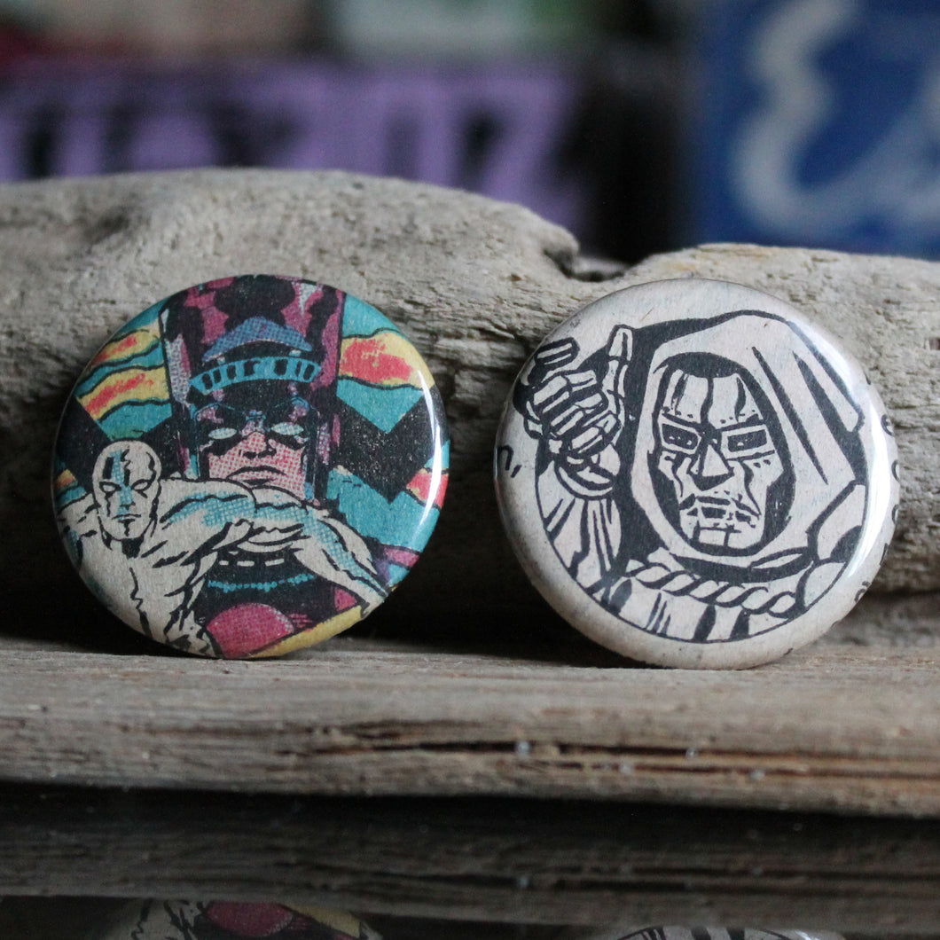 Silver Surfer Galactus and Doctor Doom pinback button collection from old Marvel comic books