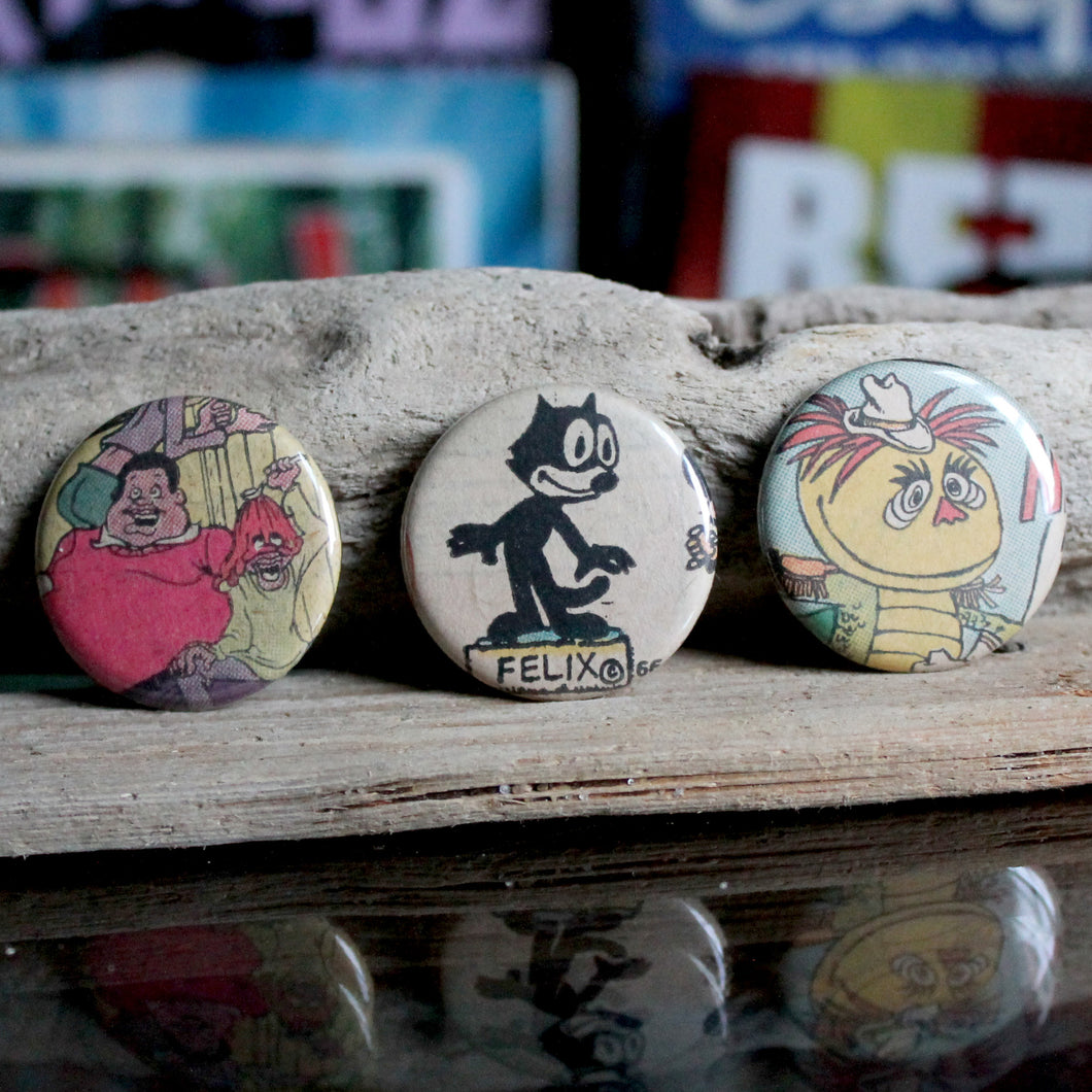 H.R. Pufnstuf Fat Albert and Felix the Cat pinback button collection of pins