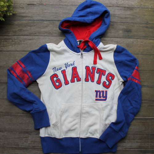 Retro style New York Giants women's zip-up hooded sweatshirt