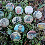 star wars and vintage comic book pinback buttons by RadCakes custom button printing