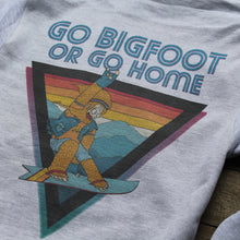 Bigfoot snowboarder sweatshirt retro 1970s style art design by Ryan Wade