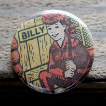 billy boy scout pinback button with raccoon tail hat