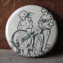 bmx bike illustration pinback button for sale by RadCakes Manasquan NJ