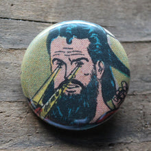 Bearded Hipster Superman with Laser Eyes pinback button - RadCakes Shirt Printing
