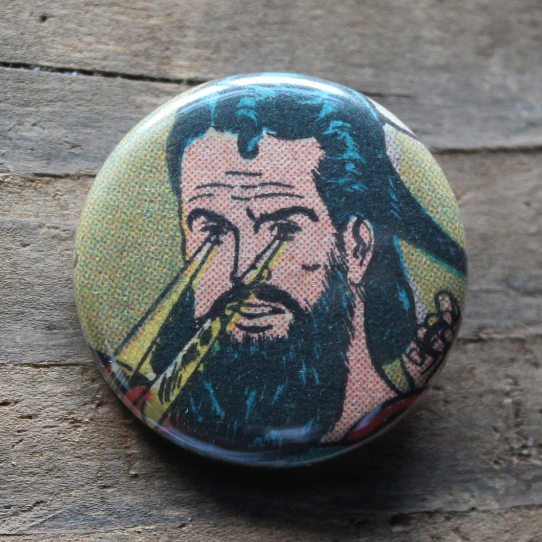 Funny Hipster Superman with Laser Eyes from vintage comic book Pinback Button for sale