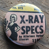 X-Ray Specs pinback button retro punk rock design for sale at RadCakes