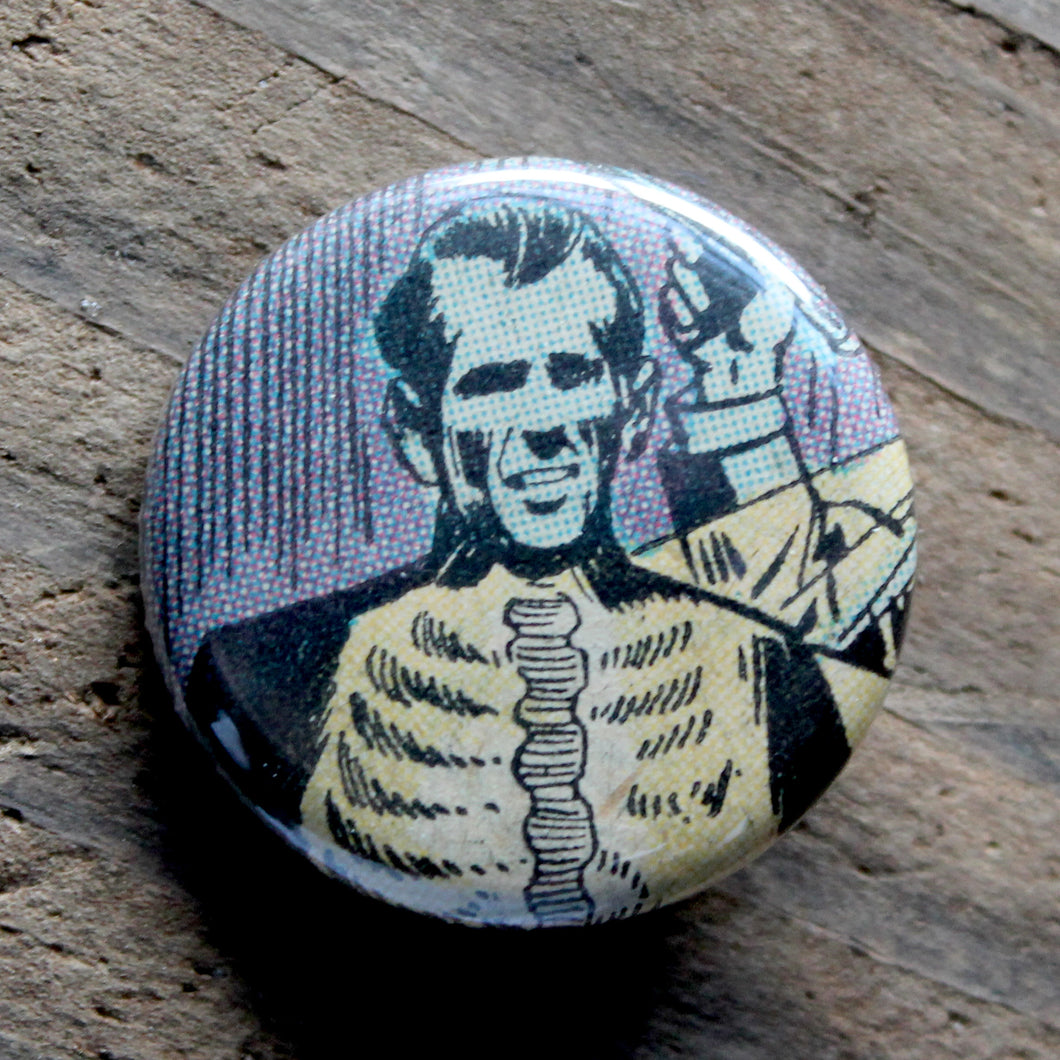 X Ray skeleton man pinback button made from an old horror comic book