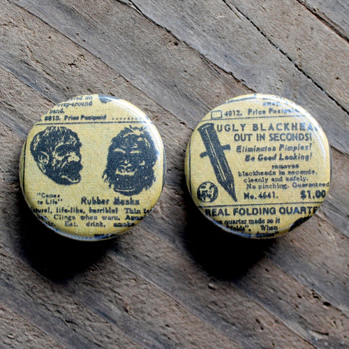Bizarre Vintage Comic Advertisement pinback buttons - RadCakes Shirt Printing