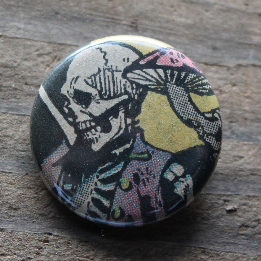 Skeleton pinback button with mushroom art by RadCakes buttons Manasquan NJ