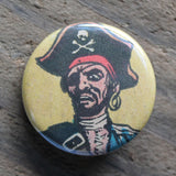 Old Pirate pinback button with hat eye patch and earring