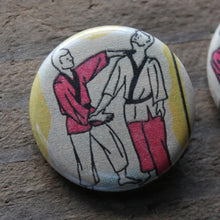 Pair of Karate Diagram pinback buttons - RadCakes Shirt Printing