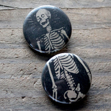Pair of Skeleton pinback buttons - RadCakes Shirt Printing