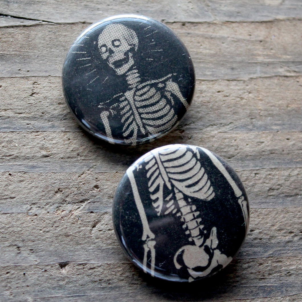 Pair of Skeleton pinback buttons