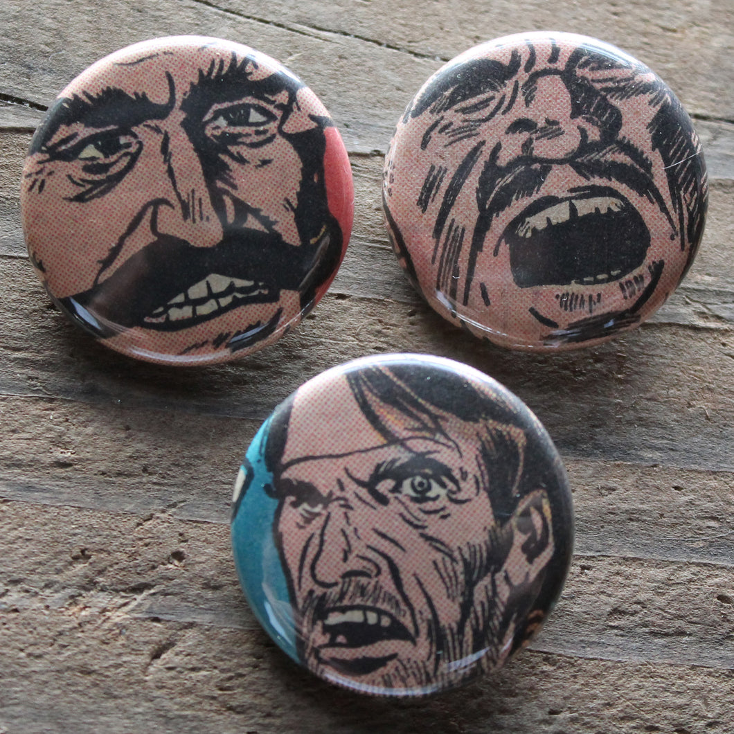 Angry Men pinback button set