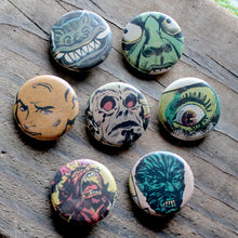 Vintage monster and retro comic book aliens pinback button collection