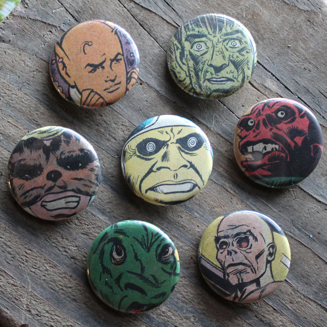 horror comic monster art pinback buttons for sale by RadCakes