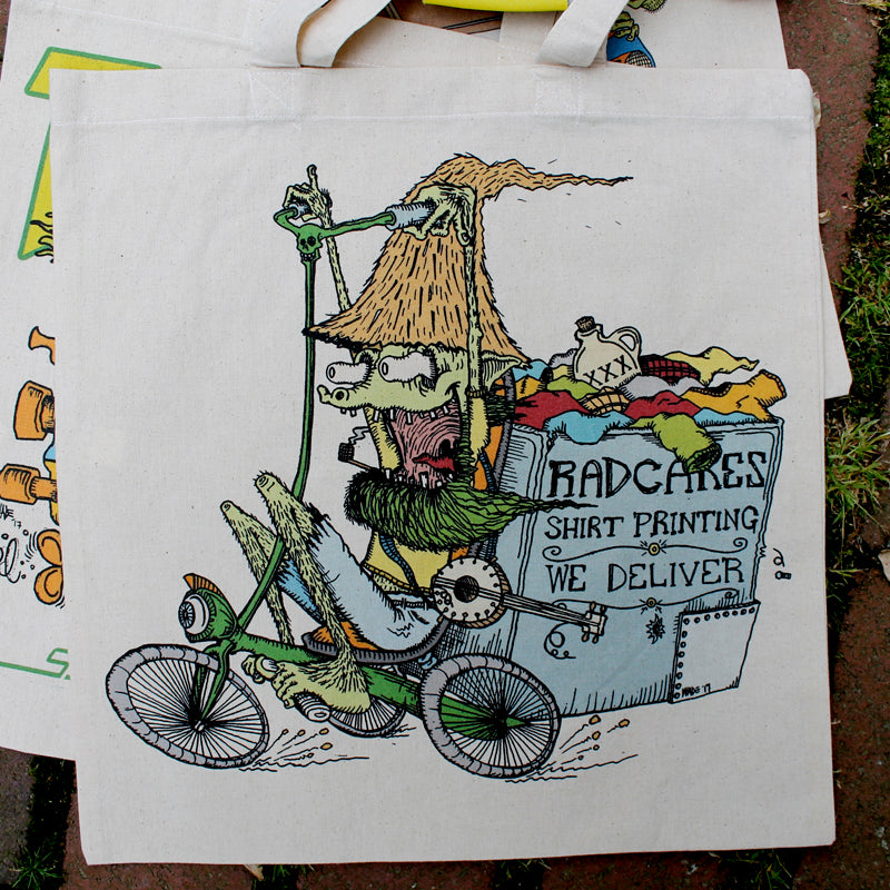 RADCAKES DELIVERS! reusable canvas tote bag - RadCakes Shirt Printing