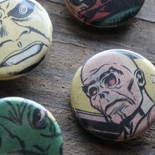 7 Horror Comic Book Monster & Alien pinback buttons - RadCakes Shirt Printing