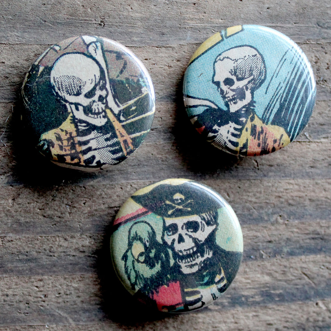 skeleton pirate pinback buttons by RadCakes custom buttons Spring Lake NJ