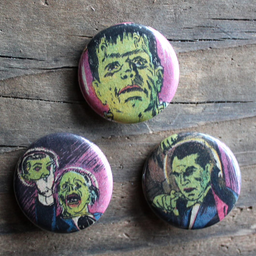 3 Vintage Movie Monsters pinback buttons - RadCakes Shirt Printing