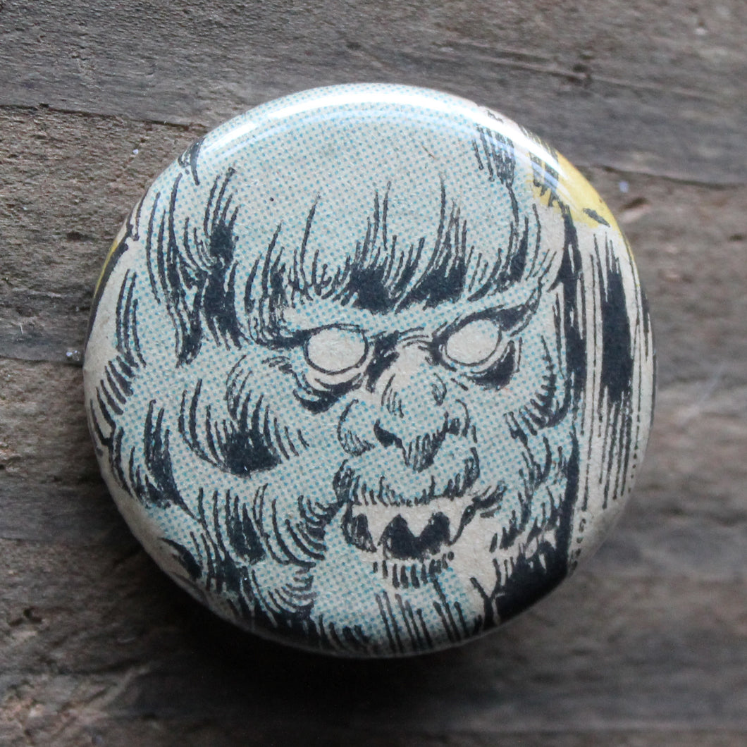 yeti pinback button by RadCakes printing comic book art