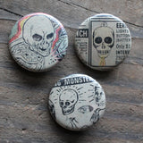 Collection of skull pinback buttons by RadCakes Belmar NJ