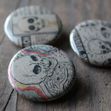 Set of 3 Skull pinback buttons