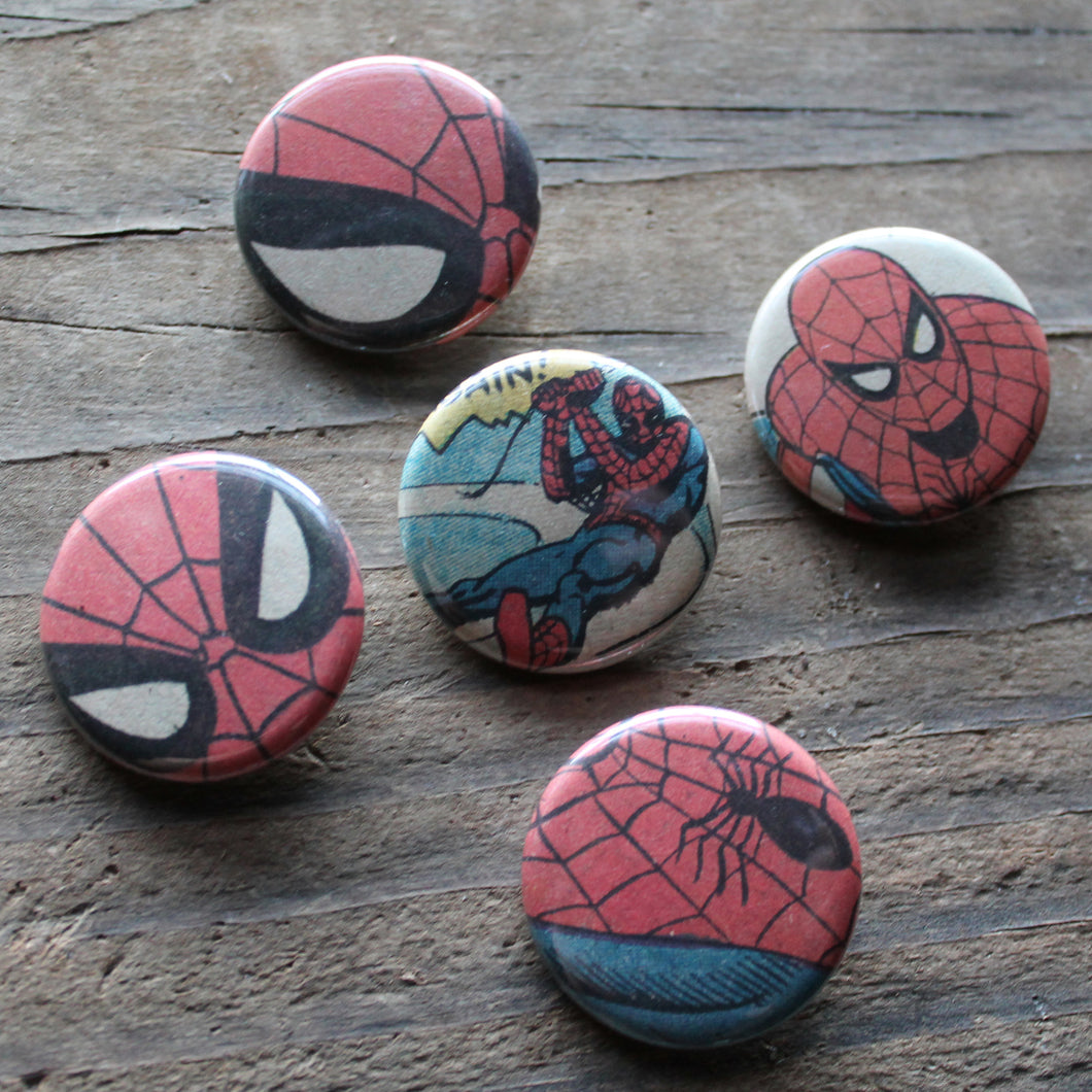 Collection of Spiderman pinback buttons