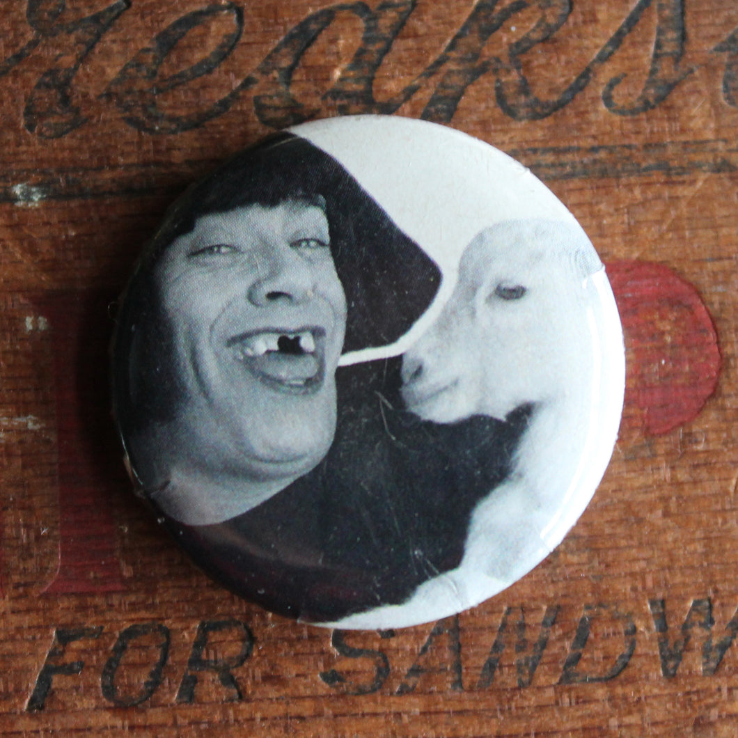 the creepiest pinback button on the internet flair badge goat weirdo pin