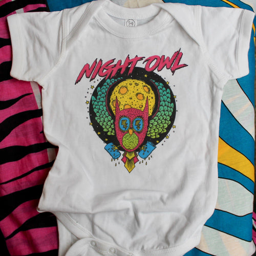 Night Owl onesie baby clothes for sale funny retro owl design