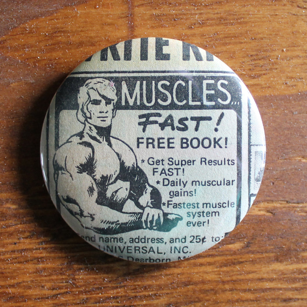 retro pinback button collection get muscles comic book advertisement