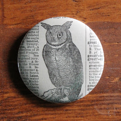 great horned owl pinback button for sale by RadCakes online store