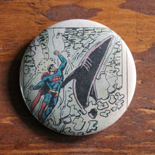 Superman punching a shark from an old DC Comic book on a pinback button by RadCakes
