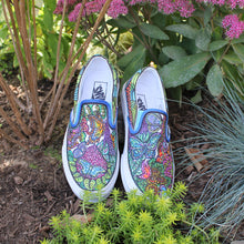 floral peacock custom designed Vans classic slip on shoes